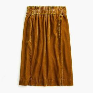 New J.Crew Pull-On Velvet Skirt Vintage Gold Midi